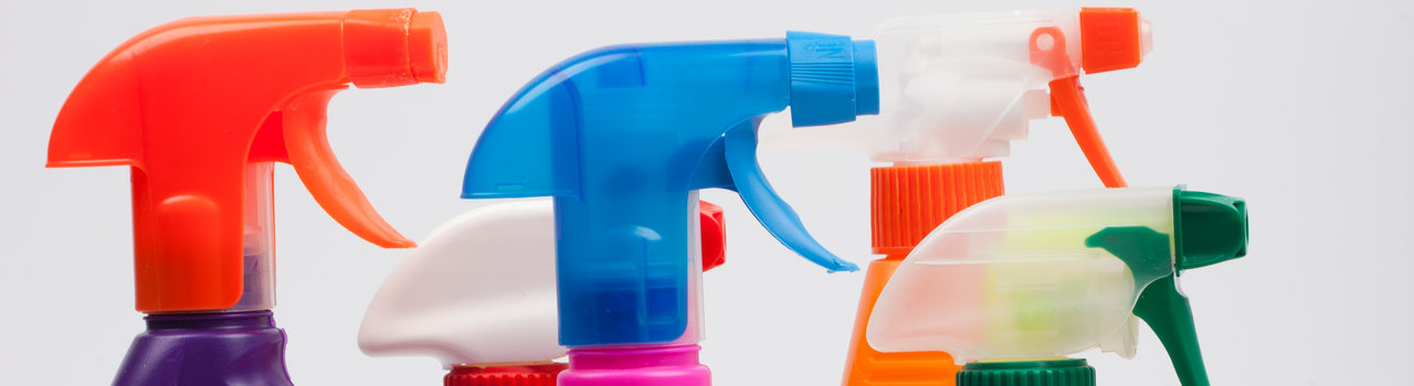 House cleaning product. Plastic bottles with detergent and liquid soap